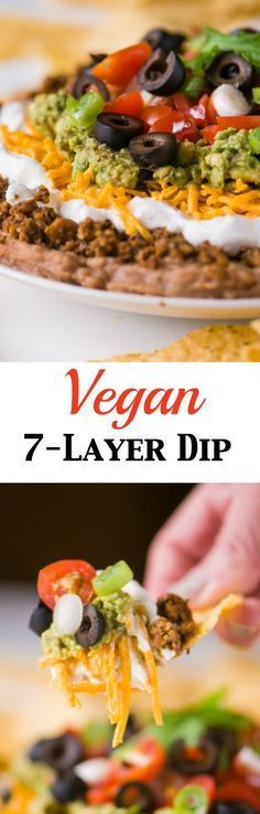 Get ready for game-day with this amazing dip - Vegan 7-Layer Dip. You won't even miss the meat or dairy in this recipe - everyone I've shared it with (vegetarian, vegan, and omnivore) has loved it! ready for game-day with this amazing dip - Vegan 7-Layer Dip. You won't even miss the meat or dairy in this recipe - everyone I've shared it with (vegetarian, vegan, and omnivore) has loved it!