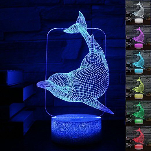 Amazon Com Gift Ideas Dolphin Night Lights 3d Illusion Lamp Animal Light Led Desk Lamps Anniversar Crackle Painting 3d Illusion Lamp Wedding Party Decorations