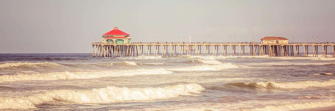Art print stock photo huntington beach pier retro