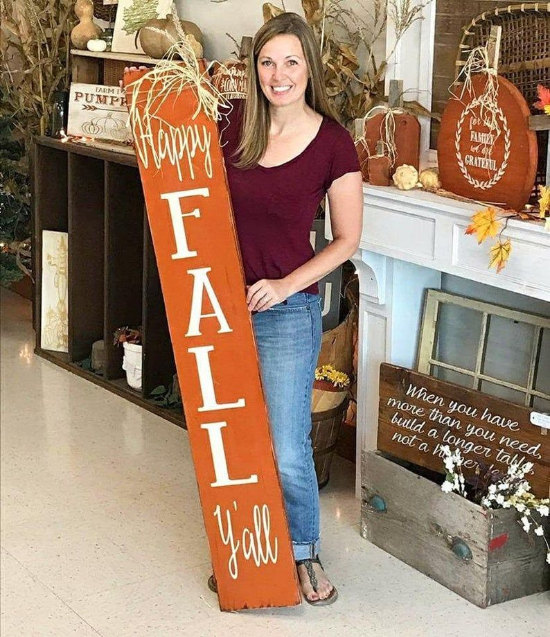 Happy Fall Yall 5 Foot Wooden Porch Sign Happy Fall Y All Sign Fall Wood Signs Fall Decorations Porch Porch Signs