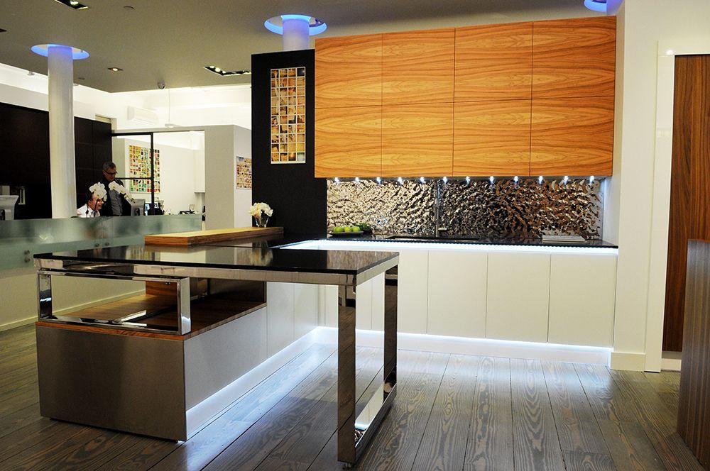 Modern Wood Kitchen Design  Homeaha  Pinterest  White Counters Custom Modern Kitchen Cabinets Nyc Design Decoration
