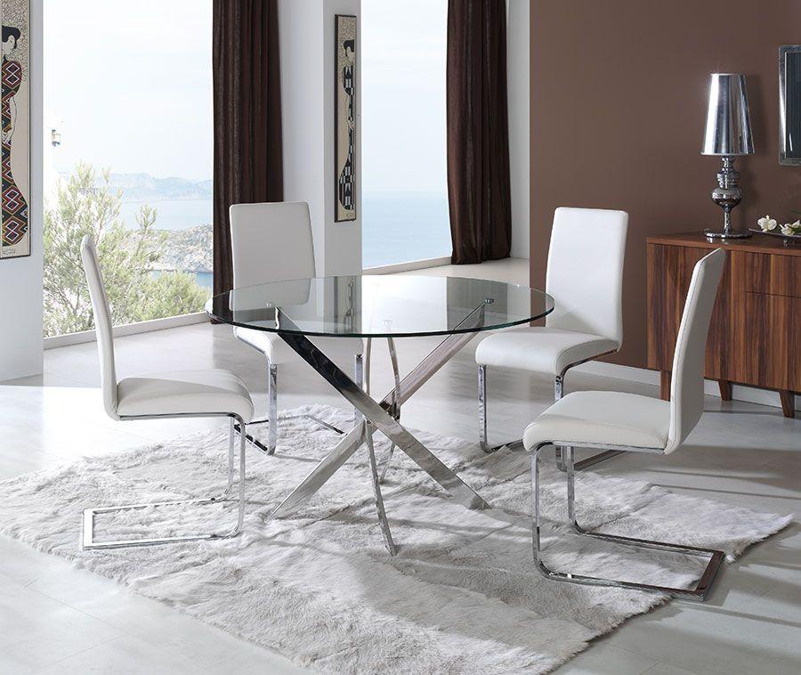 Table de salle à manger ronde design SEOUL, en verre trempé et acier ...