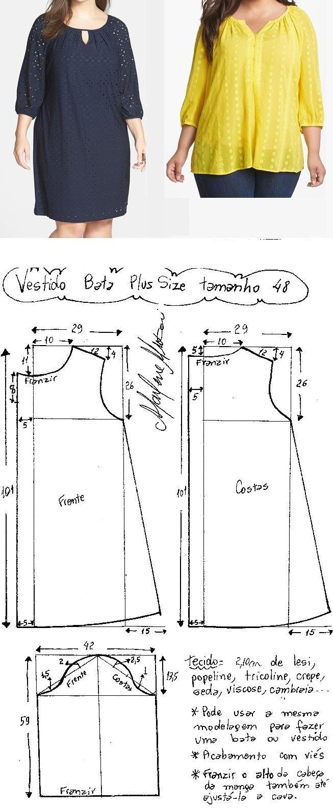 Vestido tipo bata plus size | Sewing Patterns | Pinterest