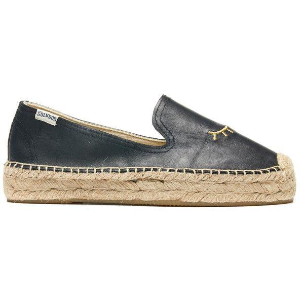 Soludos Embroidered Platform Smoking Slipper Platform Espadrille ($119) ❤ liked on Polyvore featuring shoes, sandals, black wink, black platform shoes, platform sandals, platform espadrilles, woven shoes and platform espadrille sandals