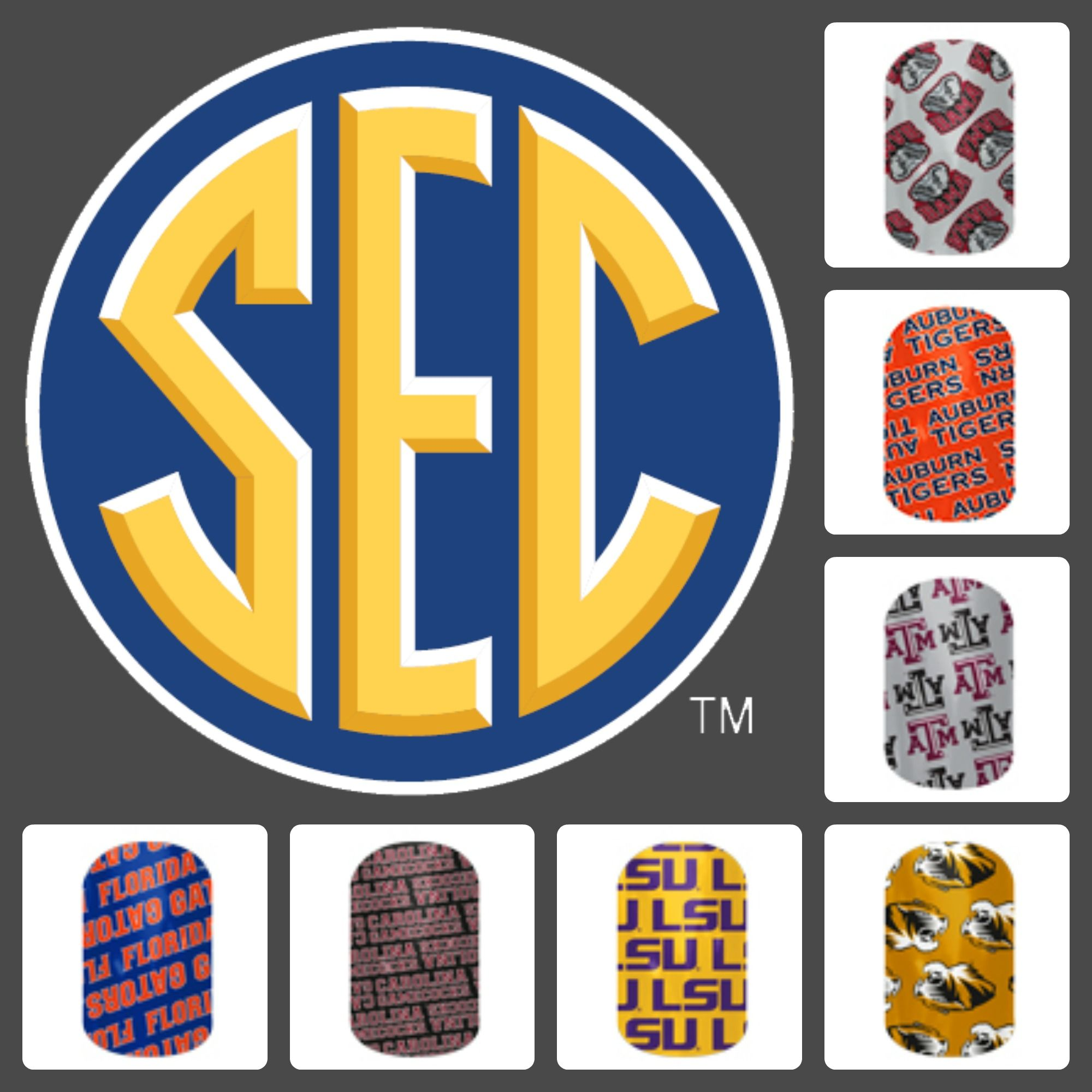 Are you ready for some SEC Football? These are the officially licensed SEC football team nail wraps from Jamberry. Show your team spirit this fall! Shelly Miller, Jamberry Independent Consultant besthandsdown.jamberrynails.net