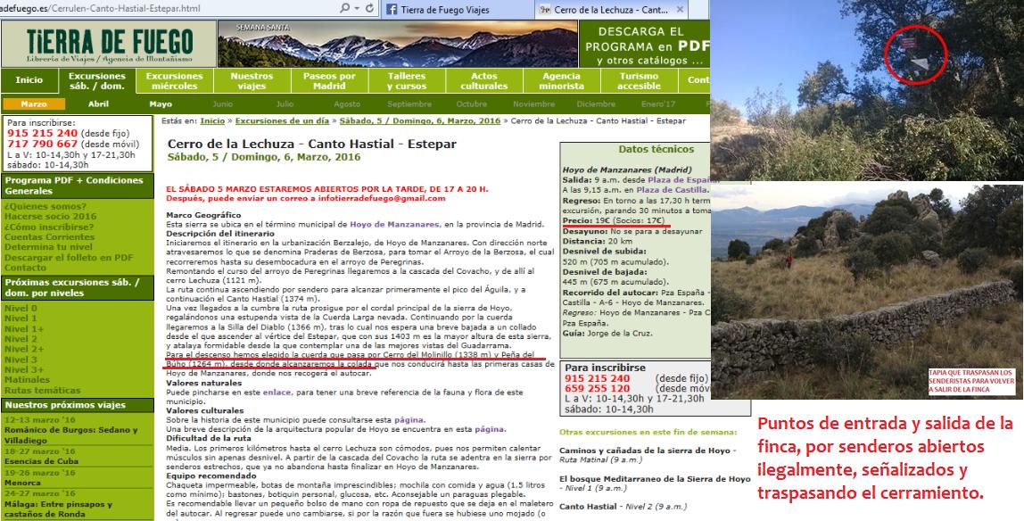 Excursión ilegal organizada por agencia de viajes.