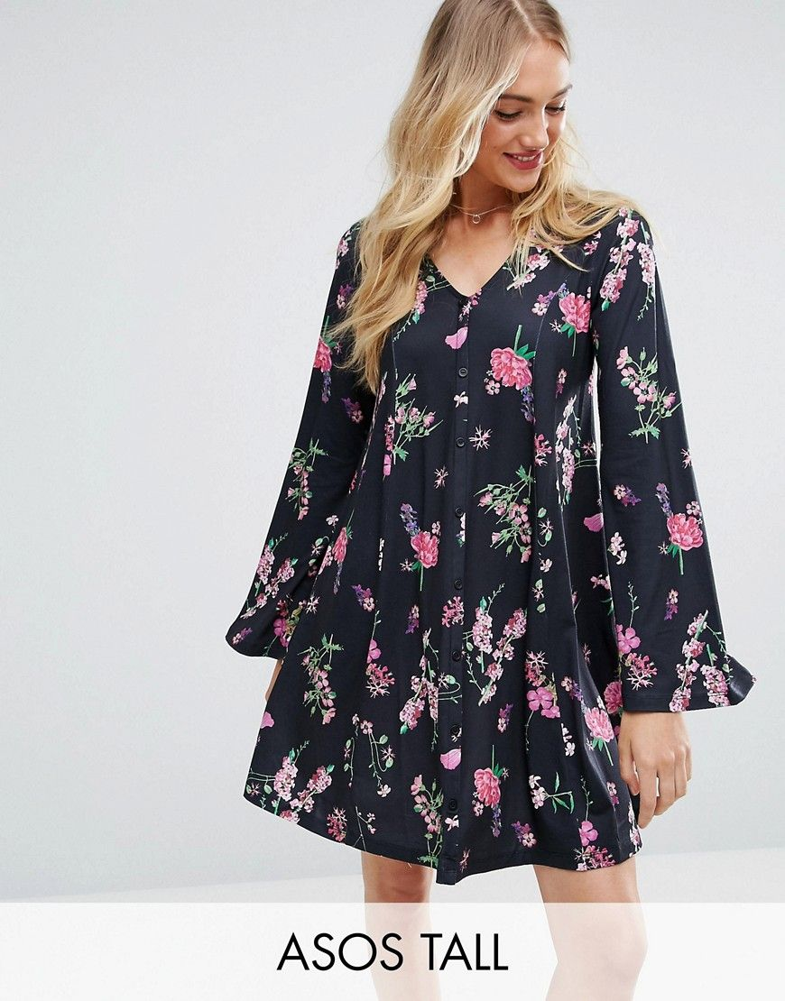 Button Through Mini Swing Dress With Trumpet Sleeve In Floral Print - Multi Asos ZuMyTGk90