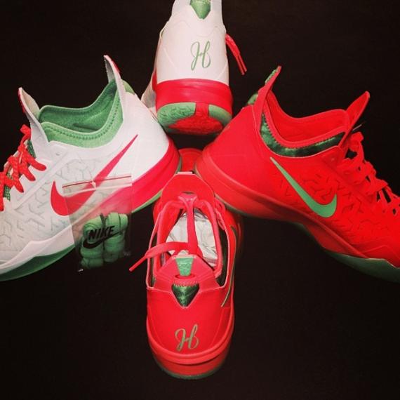 "James Harden Nike Shoes: James Harden's Nike Zoom Crusader ""Christmas"" PEs"