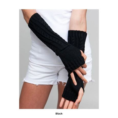 Black Fashion Cable Knit Arm Warmers.