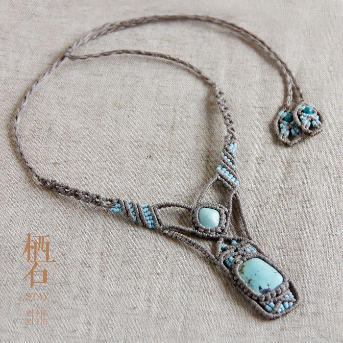 栖石原创 #macrame #handmade jewelry #turquoise #necklace