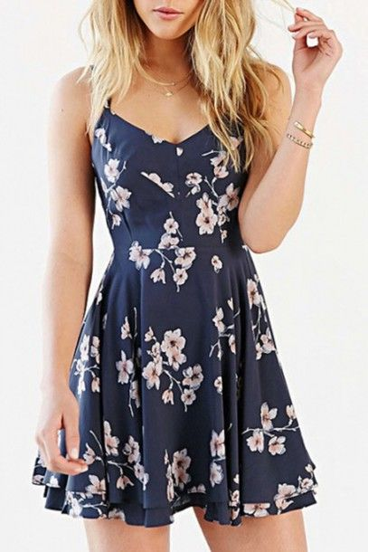 Long Walk Home Navy Blue White Floral Spaghetti Strap V Neck Backless  Chiffon Skater Circle A Line Flare Mini Dress d98c3ebe2