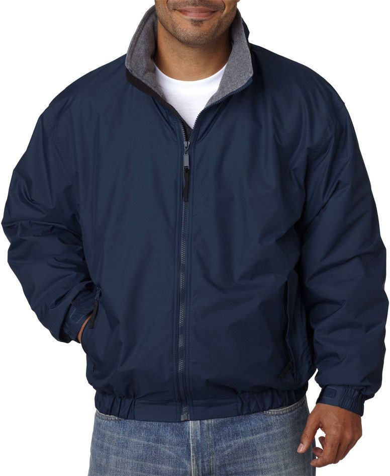ultraclub adult adventure all-weather jacket - navy / charcoal (xl)