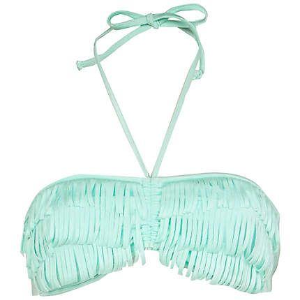 Mint green fringe bikini top!