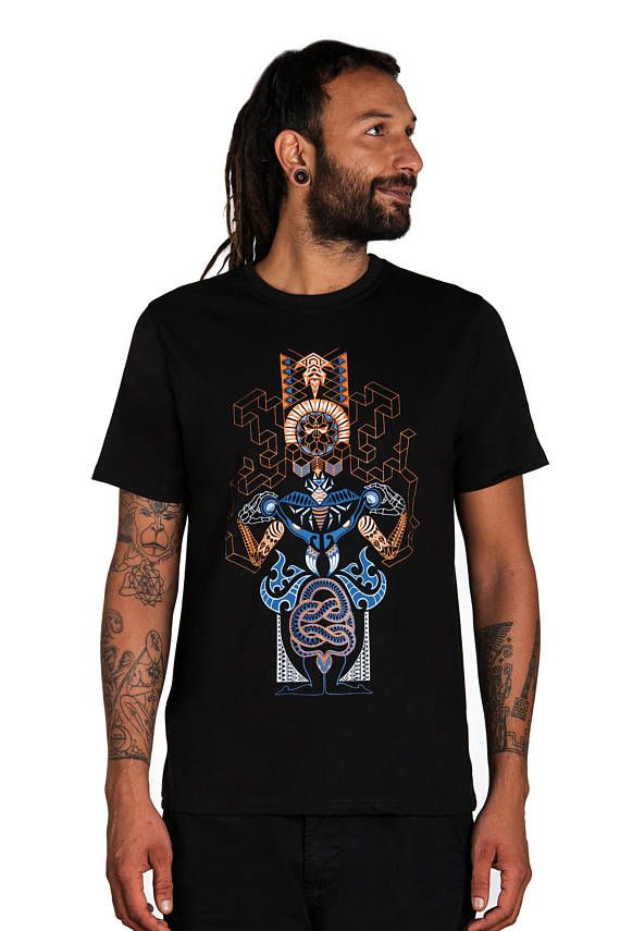 7effd575ffe2 Sacred Geometry Psychedelic Clothing -Yoga T shirt - Goa Trance -Forest  Snake-Psychedelic T Shirt- G