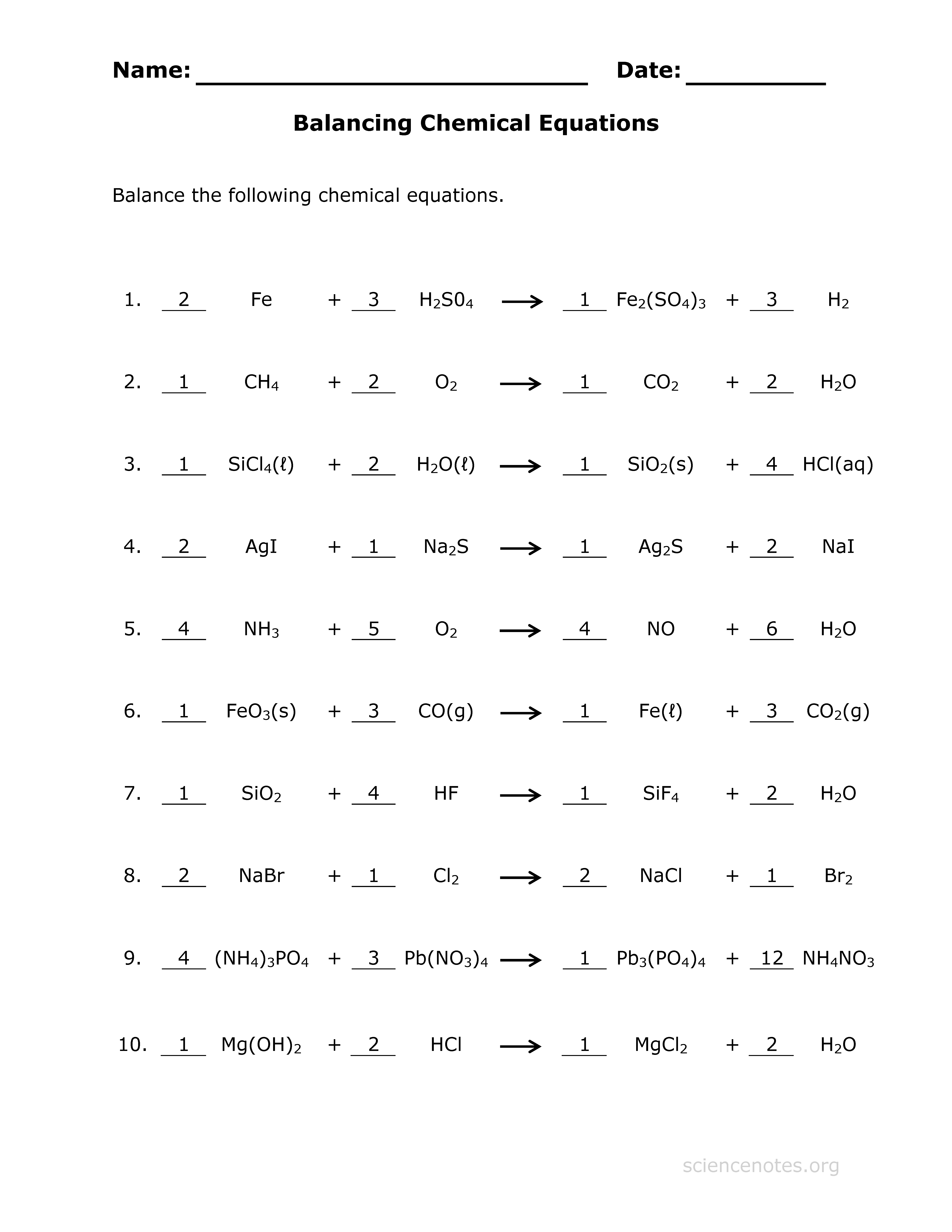 Answer key for the Balance Chemical Equations worksheet ...