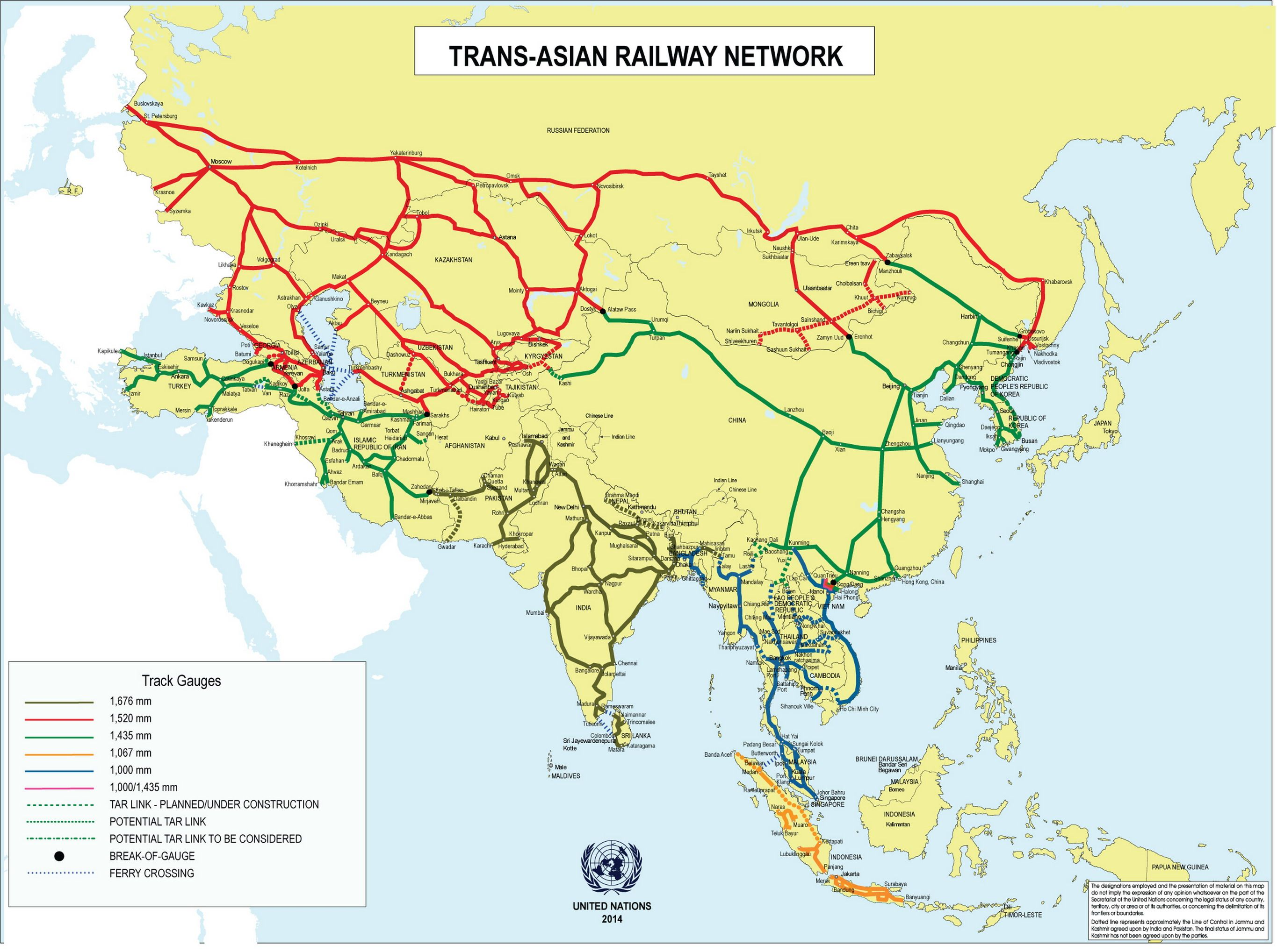 Map 9f Asia.Trans Asian Railway Network Map Maps Map Silk Road Rail Transport