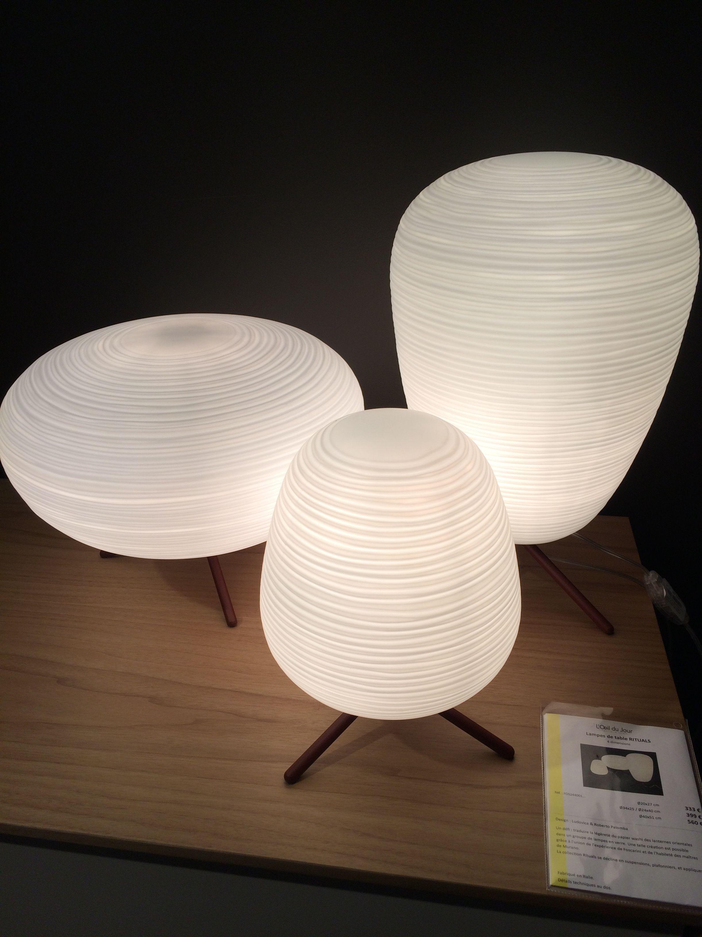 Lampe De Table Rituals De Foscarini En Verre Souffle Satine Et Metal