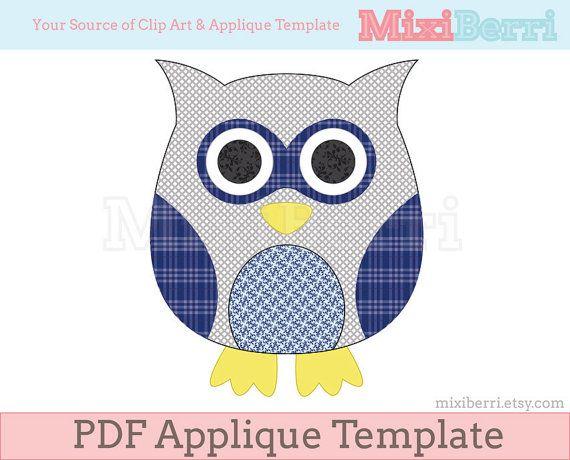 Blue Owl Applique Template Pdf Applique Pattern By Mixiberri