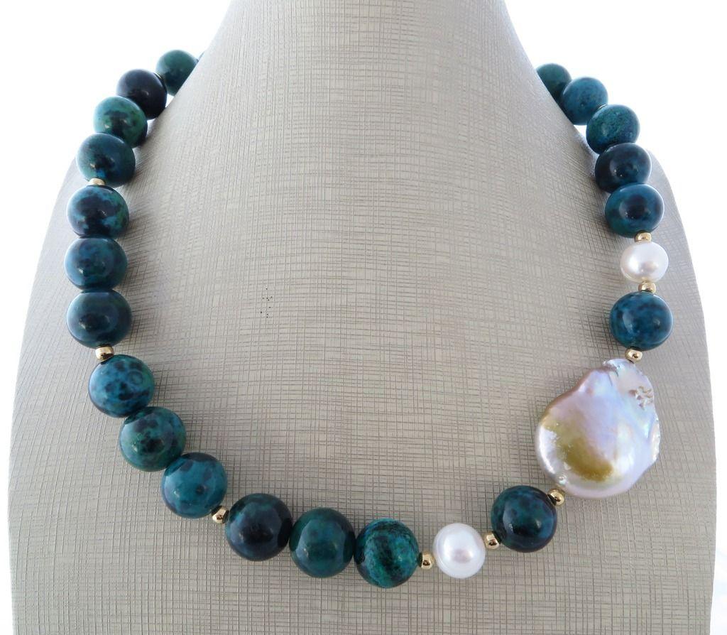 Collana pietre in crisocolla verde blu girocollo perle barocche gioielli artigianali bijoux - Collane di design ...