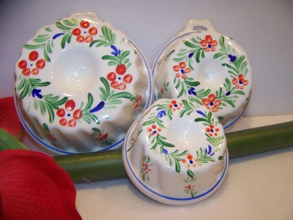 Vintage Enesco Ceramic Jello Molds Set Of Three Molds Japan On Etsy 20 00 Vintage Jello Molds Ceramic Molds Jello Molds
