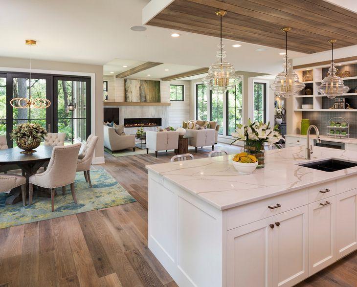 Open Plan Kitchen Living Room Dining Area Matte Finish Hardwood Floor