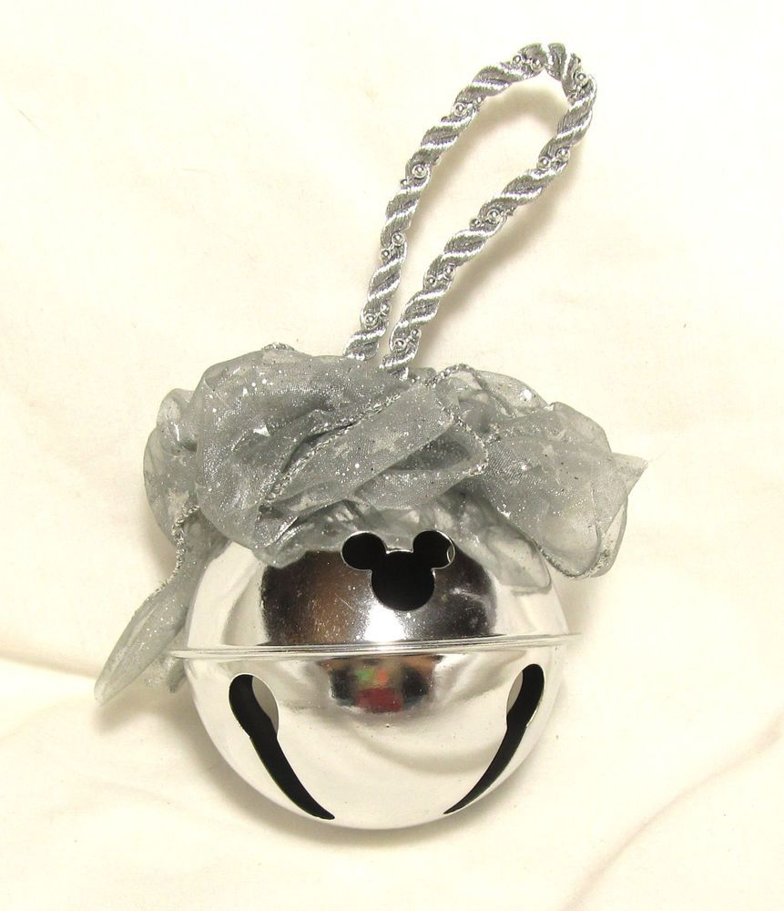 DISNEY LARGE MICKEY MOUSE CHROME METAL BALL BELL ORNAMENT WITH BOW #Disney