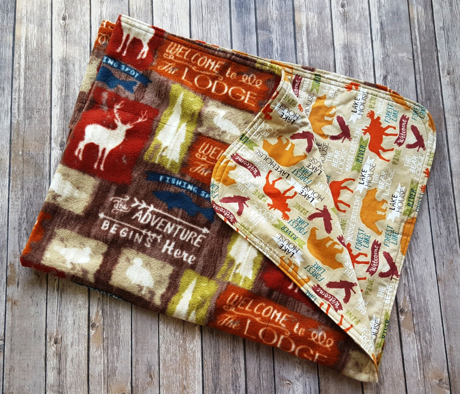 Welcome to the Lodge Holiday Throw Blanket Fleece and Flannel