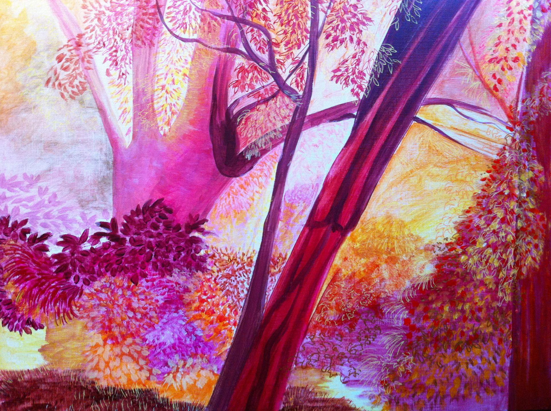 Peinture paysage Jardin fleuri nature au jardin Arbres roses et
