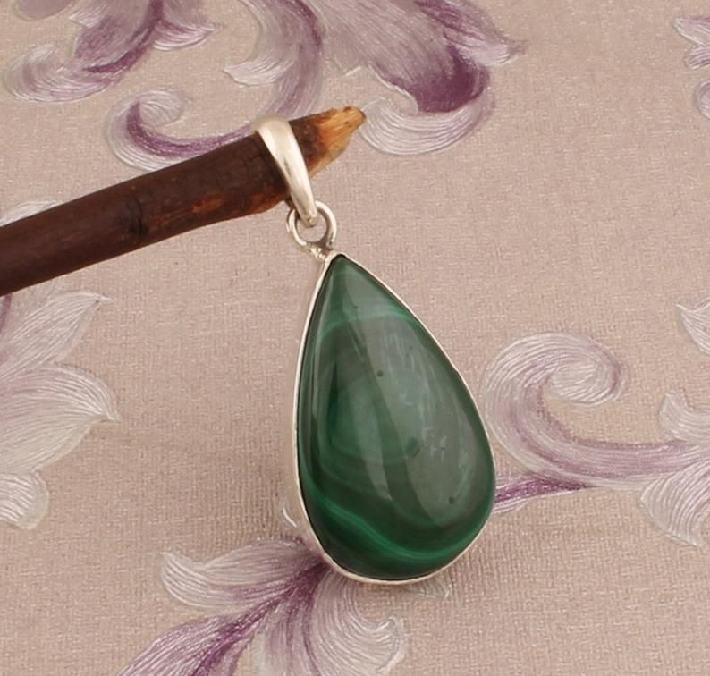 Natural Malachite Top Quality Gemstone Pendant 925-Sterling Silver Pendant,Antique Silver Pendant Wedding Pendant Gift For Her
