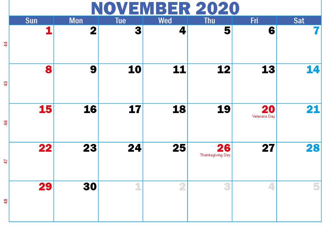 November 2020 Calendar Printable Monthly Template With Notes In 2020 Calendar Printables Calendar Template 2020 Calendar Template