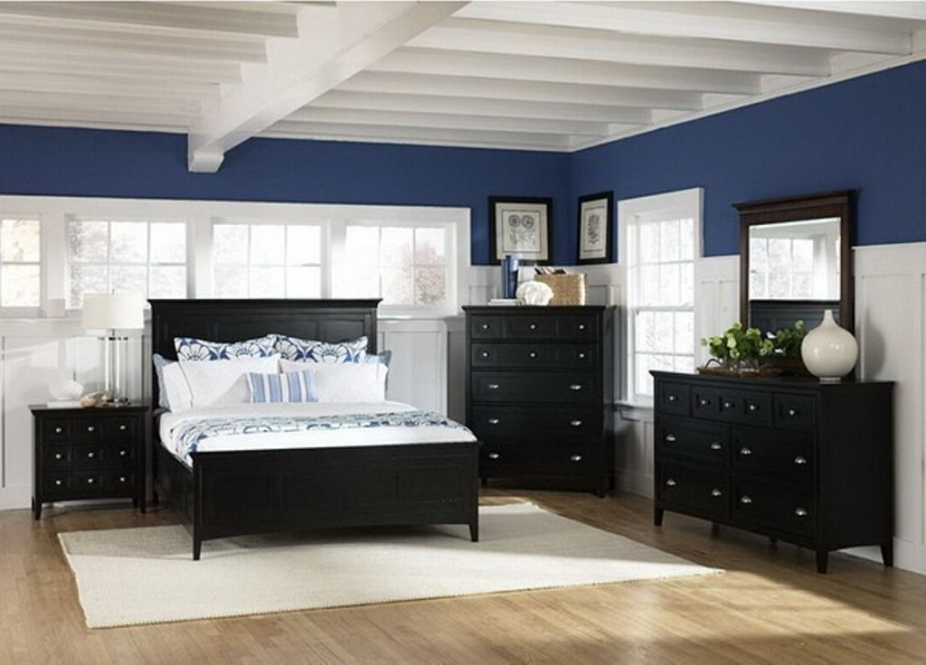 Awesome Bedroom Furniture Navy Blue Accent Wall For Black Bedroom