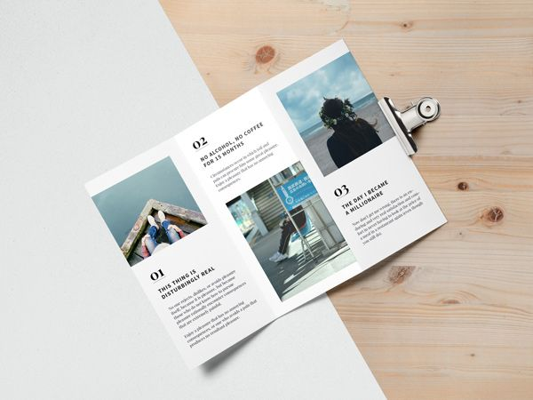 Create a flawless top view presentation for your future editorial - create tri fold brochure