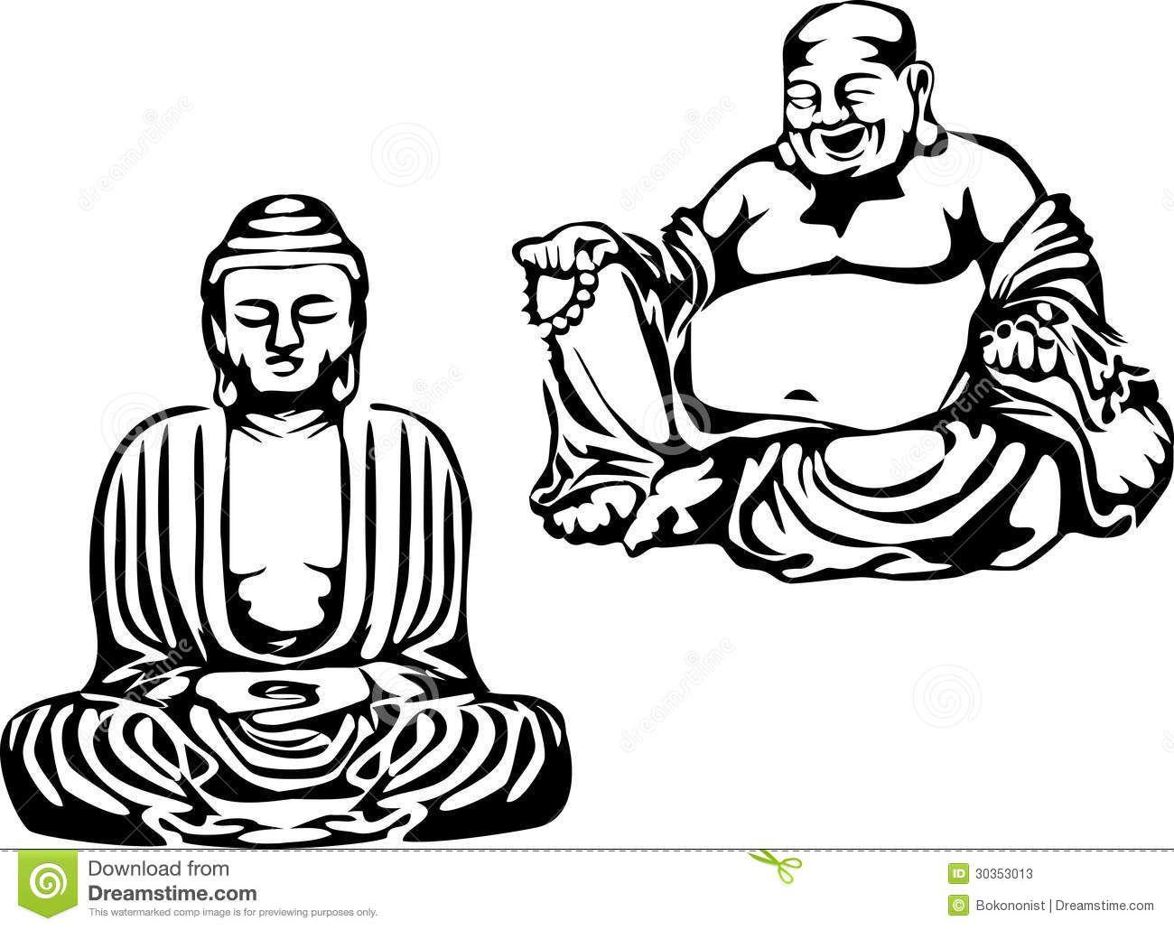 buddha-black-white-illustration-meditating-smiling-30353013.jpg ...