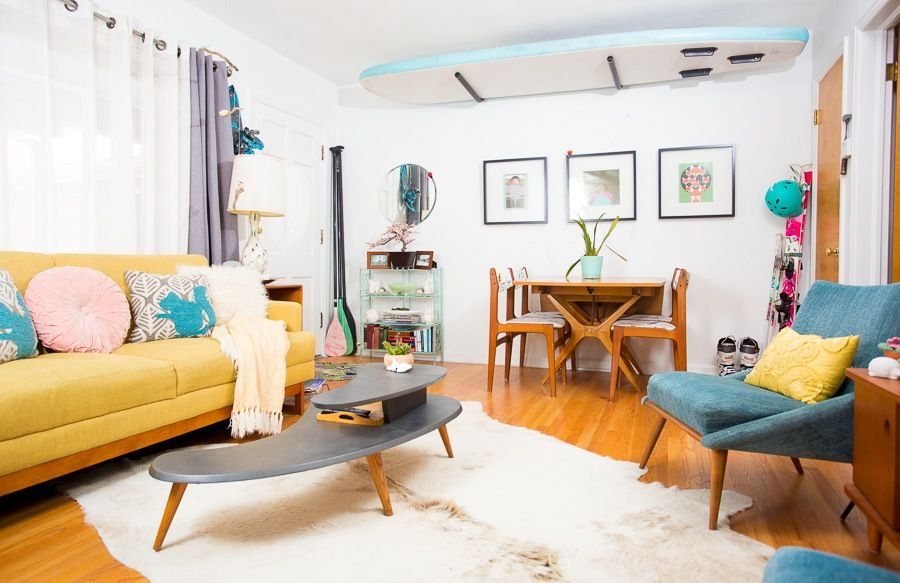 Mid Century Living Room, Cool Apartment Furniture