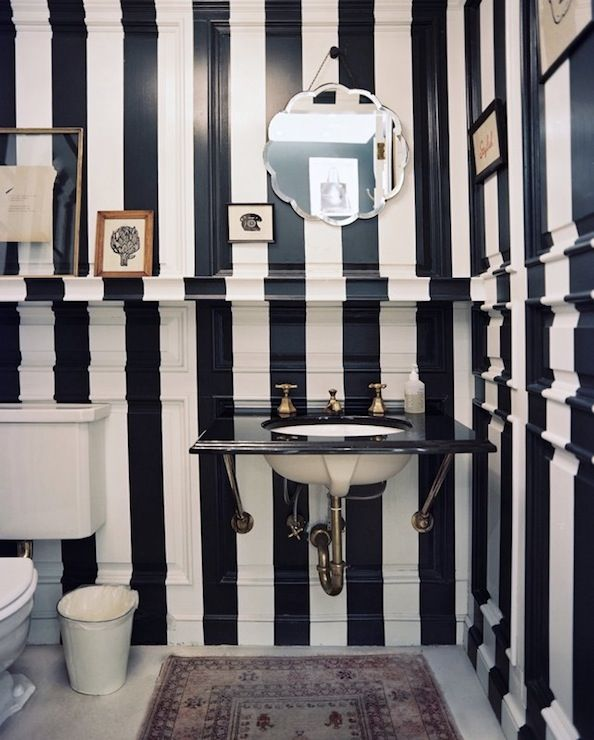 Bathrooms   Navy Blue White Painted Striped Black Marble Vanity Countertop  Beveled Mirror Bathroom White U0026