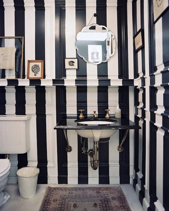 bathrooms - navy blue white painted striped black marble vanity
