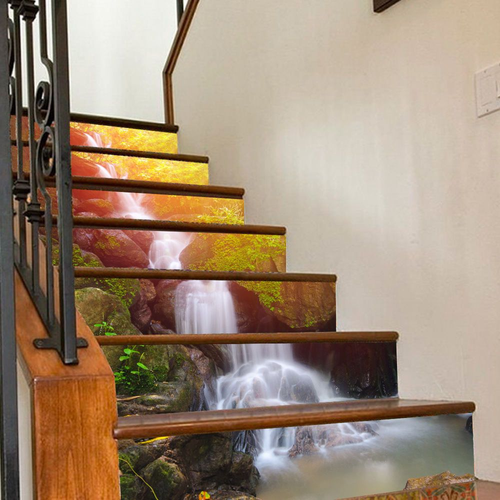 3d Waterfall Stair Risers Decoration Photo Mural Vinyl Decal Wallpaper Sticker Home Garden Home Decor Decals Stair Stickers Stair Decor Modern Staircase