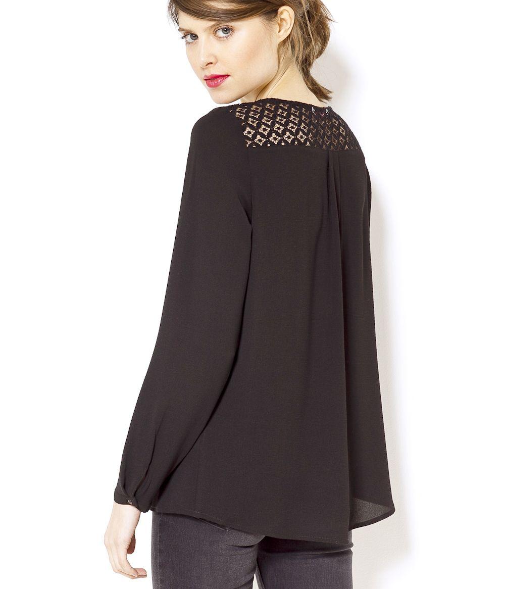 blouse dentelle noire cama eu 2017 mode pinterest lacets noirs blouse et dentelle. Black Bedroom Furniture Sets. Home Design Ideas