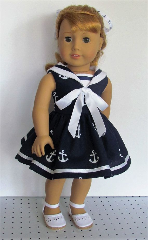 Navy anchor print sailor dress by MySewYouCreations on Etsy. Made with the Sailorette pattern. Find it at http://www.pixiefaire.com/products/sailorette-18-doll-clothes. #pixiefaire #sailorette