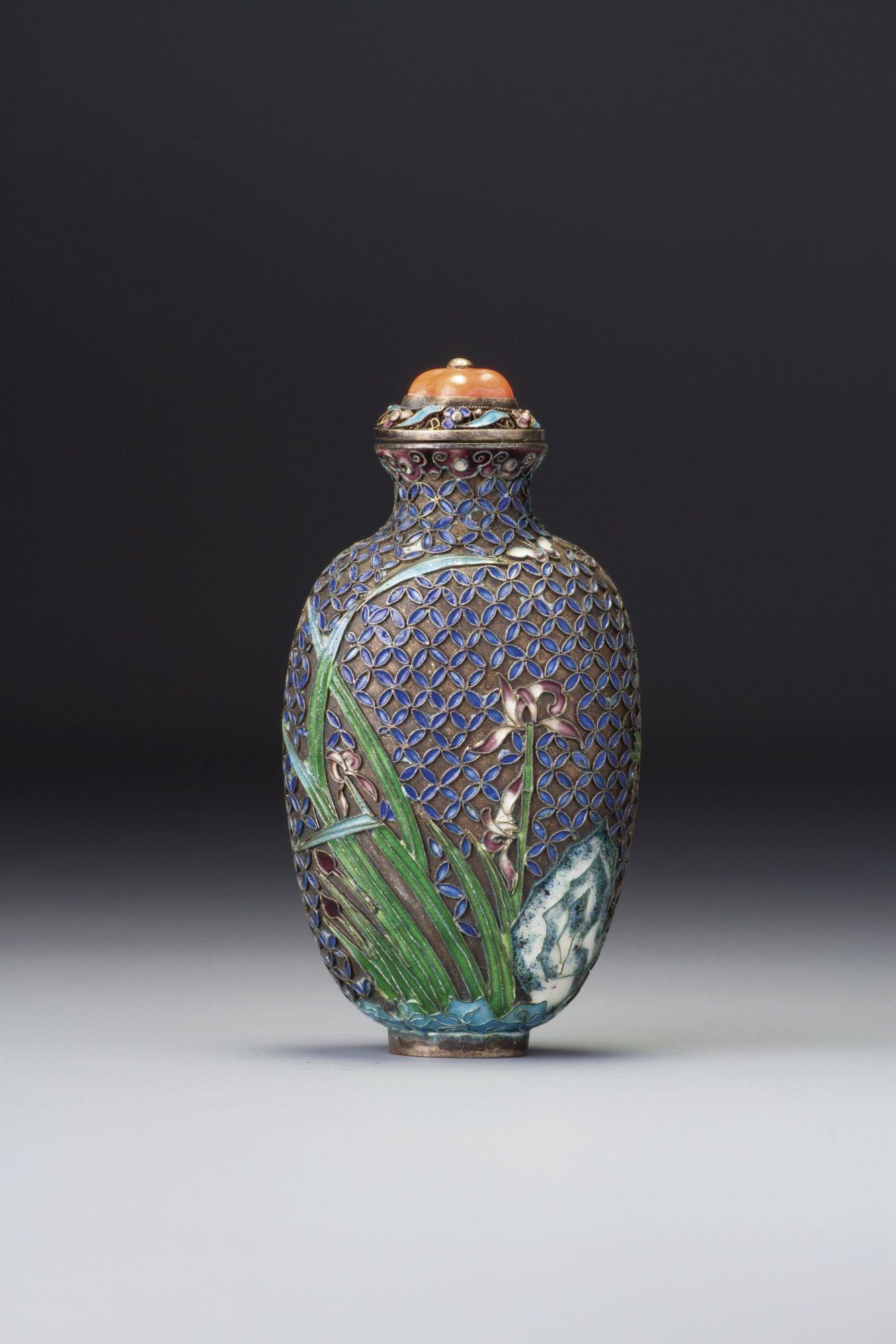 Enameled Silver Snuff Bottle - Qing Dynasty