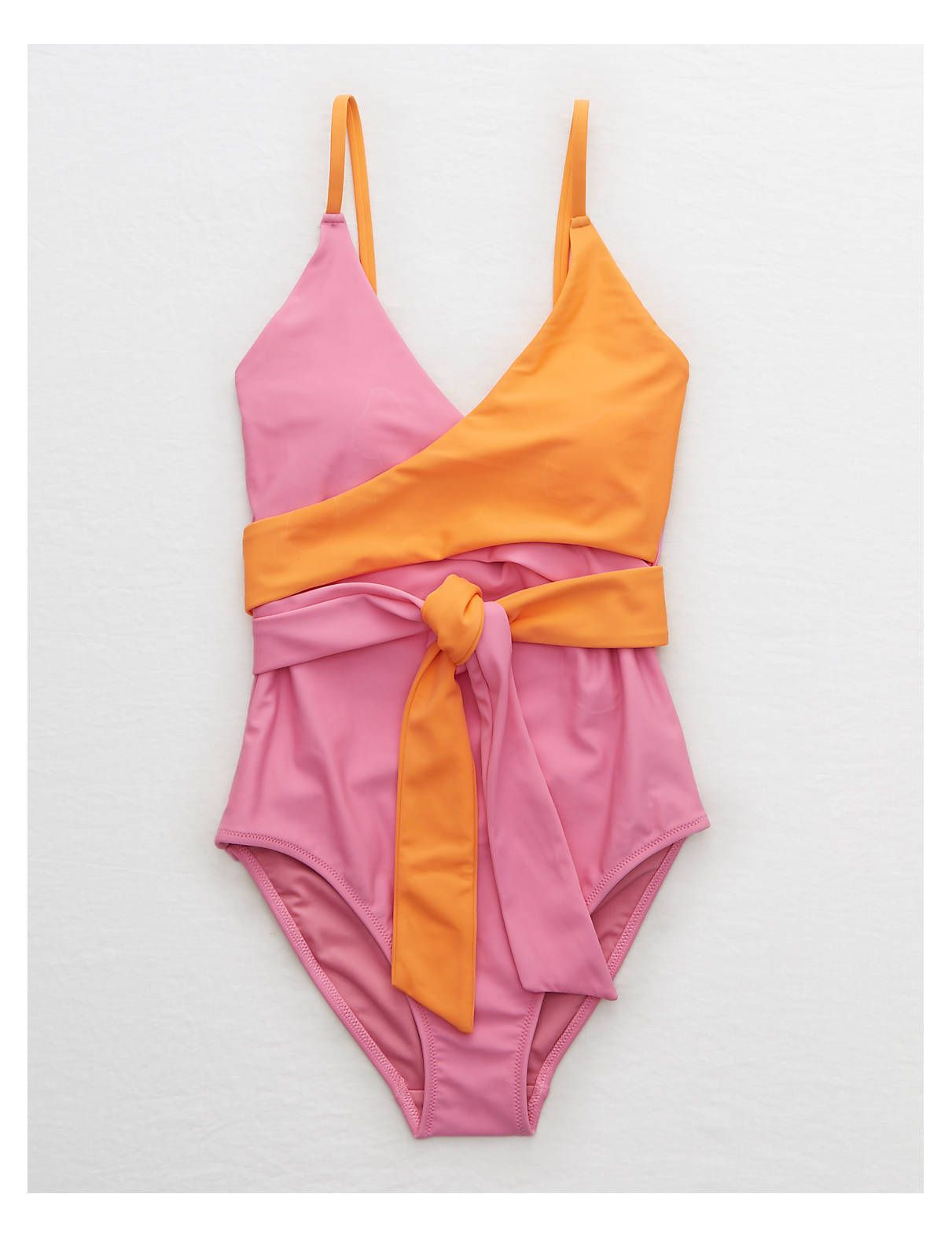65e048ee64d18 Aerie Color Block One Piece Swimsuit, Pink | Aerie for American Eagle