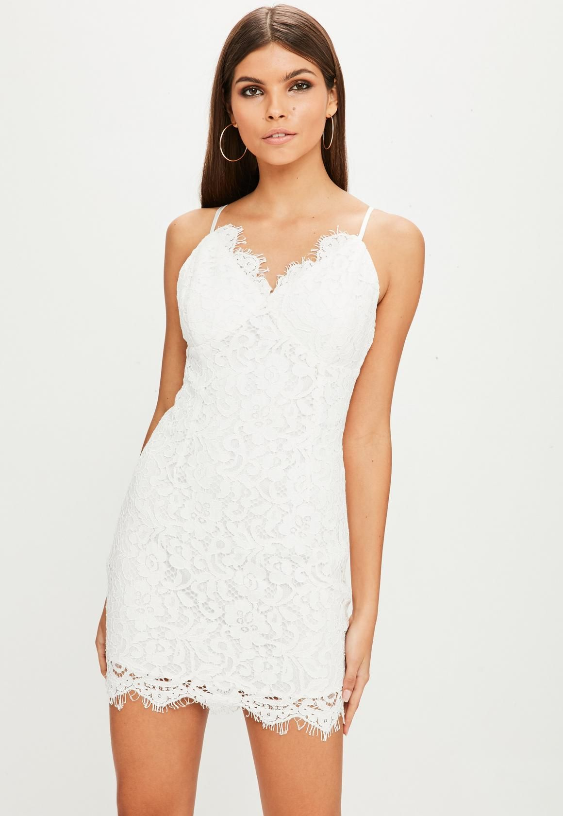 e6e061623d Missguided - White Lace Bustcup Plunge Dress
