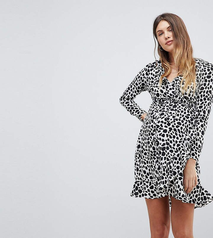 e203a98bf2cf ASOS Maternity Mono Polka Dot Ruffle Wrap Mini Dress | Maternity ...