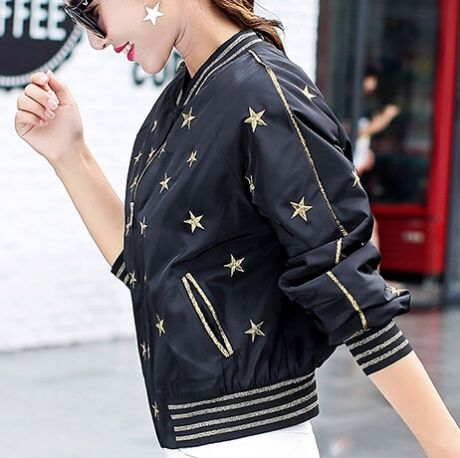 Gold Stars Embroidered Bomber Jacket For Women Fashions Black Coat