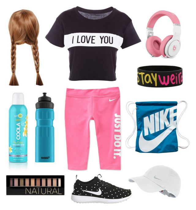 """Sport on fire "" by saule-balsyte on Polyvore featuring NIKE, Lovers + Friends, SwimSpot, SIGG and Forever 21"