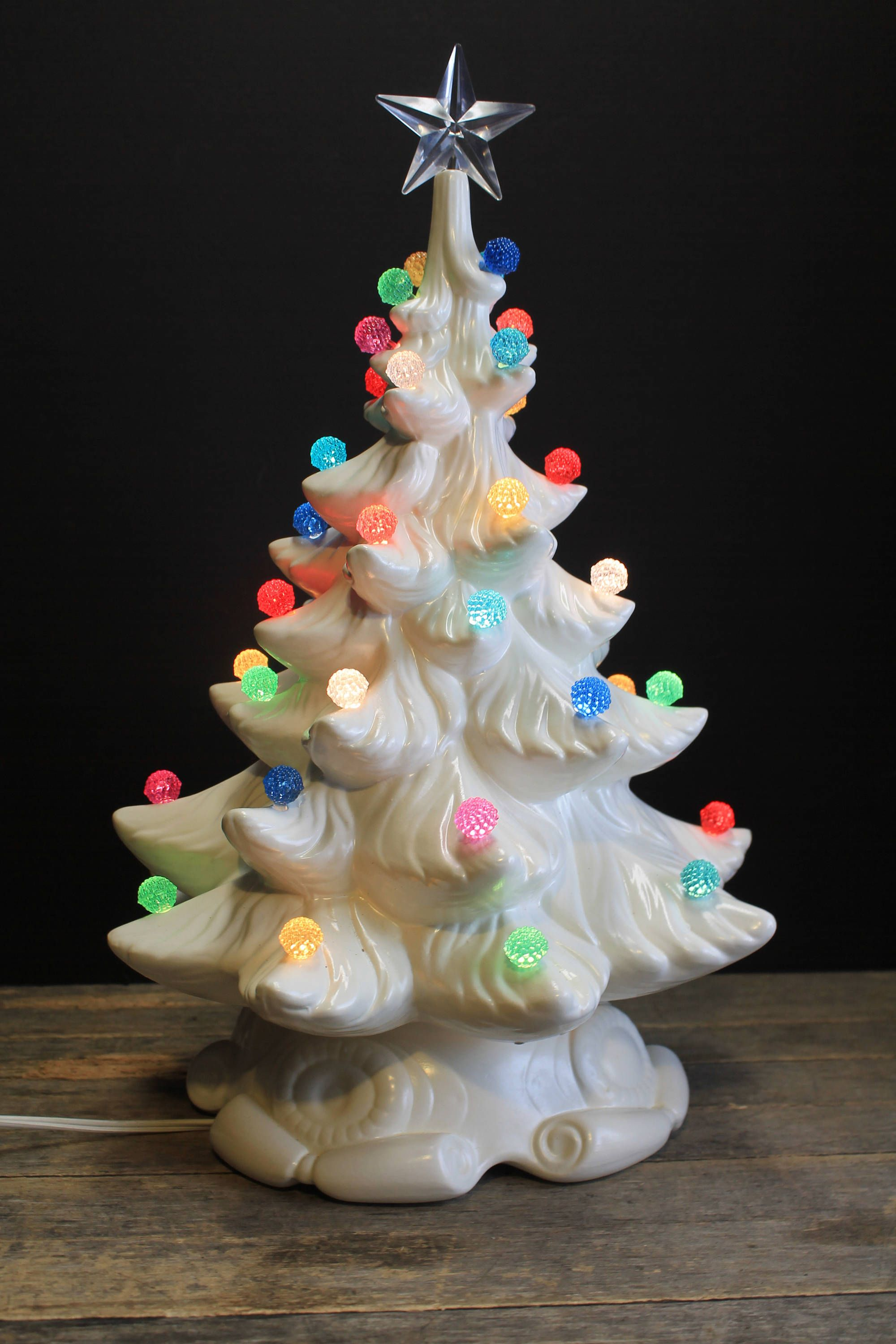 Rare Snowy White Lighted Ceramic Christmas Tree // Multi