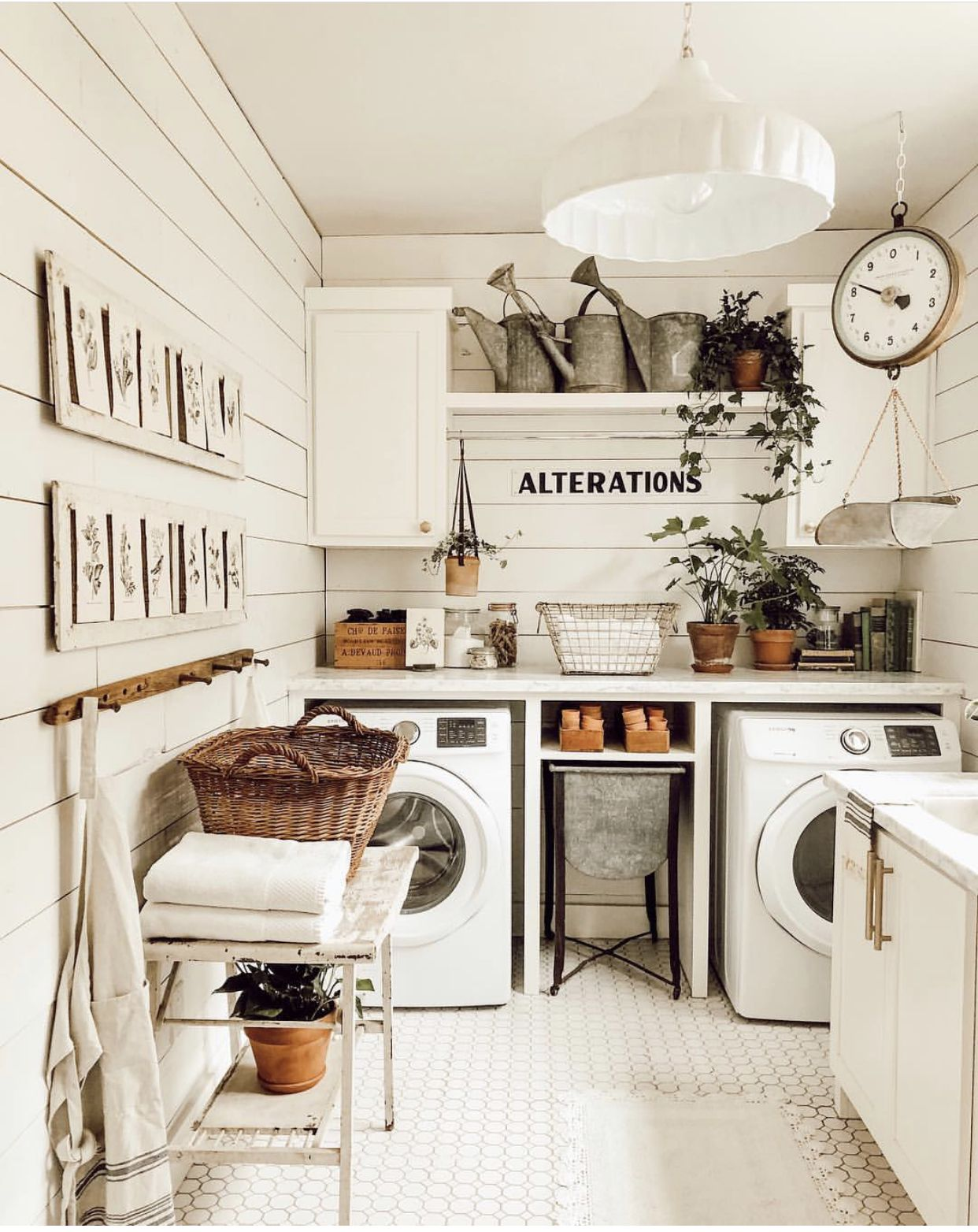 Simple farmhouse laundry room that can also be used as a