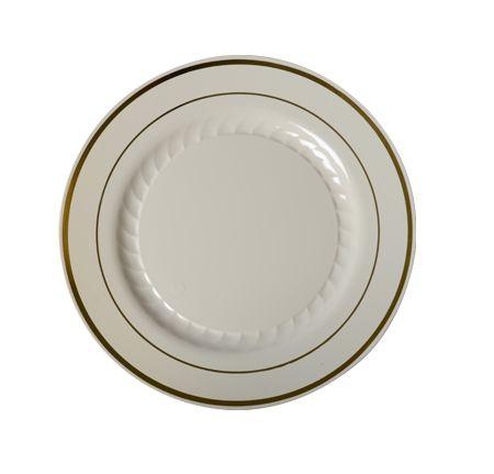 Fancy Bone with Gold Rim Round Plastic Plate - Posh Party Supplies  sc 1 st  Pinterest & 6\