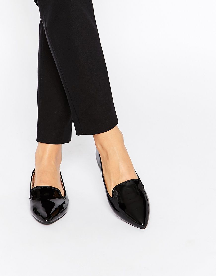 oasis black patent pointed flat slipper shoes asos