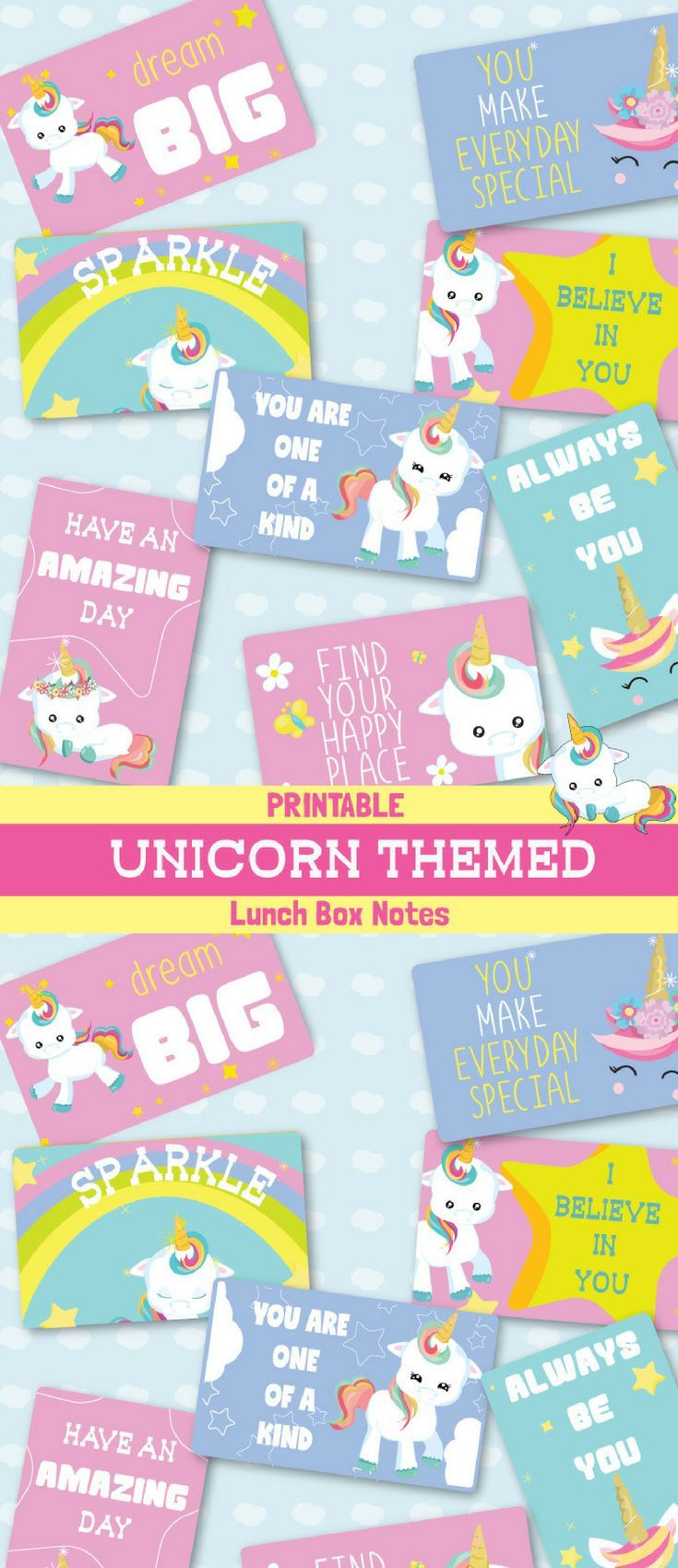 Unicorn Lunch box notes Free Back to School Printable images